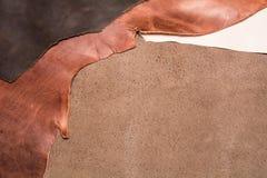 Textur av stycken av naturligt brunt läder för illustrationläder för bakgrund eps10 vektor Fotografering för Bildbyråer