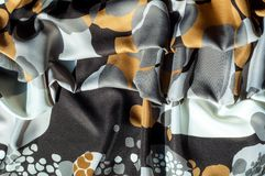 Textur bakgrund, modell Abstrakt modell på ett siden- tyg, Royaltyfria Bilder