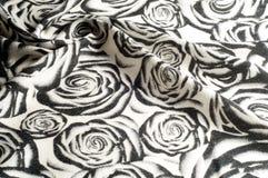 Textur bakgrund, modell En woolen halsduk som är svartvit, r Royaltyfria Foton