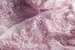 Textur bakgrund, modell Lyx 3D Beaded snör åt tyg, han Royaltyfri Fotografi