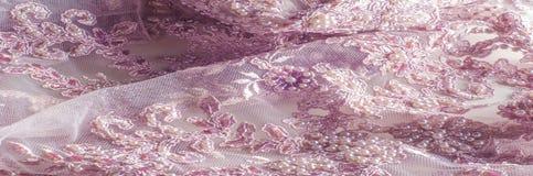 Textur bakgrund, modell Lyx 3D Beaded snör åt tyg, han Royaltyfri Foto