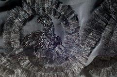 Textur bakgrund, modell svart tygsilk Med sydd patte Royaltyfria Foton