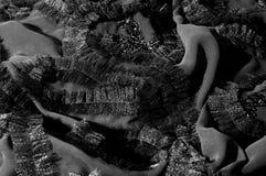 Textur bakgrund, modell svart tygsilk Med sydd patte Arkivbilder