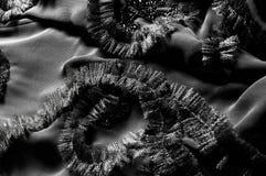 Textur bakgrund, modell svart tygsilk Med sydd patte Arkivfoto