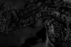 Textur bakgrund, modell svart tygsilk Med sydd patte Royaltyfri Bild