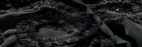 Textur bakgrund, modell svart tygsilk Med sydd patte Royaltyfri Fotografi