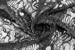 Textur bakgrund, modell Tyg av svart snör åt Bakgrundsnolla arkivbilder