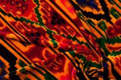 Textur bakgrund, modell Uzbekiska motiv för torkduk Indiskt tyg royaltyfri fotografi
