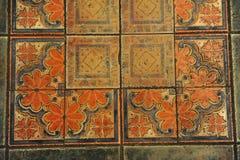 Textur belagt med tegel golv i en mosaikstil Fotografering för Bildbyråer