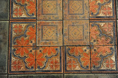 Textur belagt med tegel golv i en mosaikstil Arkivbilder