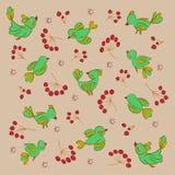 textur Birds_berries vektor illustrationer