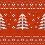 Textur del jersey del diseño de la Navidad con el pino treese Fotografía de archivo