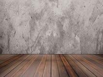 Textur för ädelträgolv och betongvägg royaltyfri fotografi