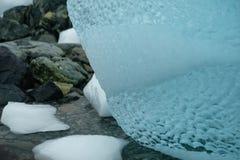 Textur för Antarktis unik skinande klar blå isbergkonst på den steniga stranden royaltyfri bild