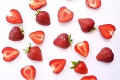 Textur för bakgrund för jordgubbeskiva röd Top besk?dar Begrepp av sommarecomat royaltyfri bild
