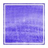 Textur för bakgrund för ram för violett vattenfärg för hand utdragen rektangulär med fläckar arkivfoton