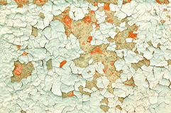 textur för bakgrundsmålarfärgskalning Ljus - rosa färger och turkosskalningsmålarfärg på den gamla konkreta yttersidan Arkivfoton