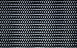 Textur för bikupa för hål för Grey Macro Metallic rasterrunda Royaltyfri Bild