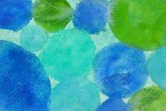 Textur för cirkel för blått för vattenfärgabstrakt begreppgräsplan Royaltyfri Fotografi