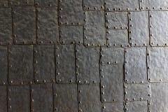 Textur för dörr för stålplatta Arkivbilder