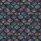 Textur för färgstänk för ljus för formabstrakt begrepp för tegelplattor lockig östlig geometrisk grunge färgrik, sömlös modelldes Royaltyfri Foto
