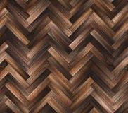 Textur för golv för naturlig mörk parkett för fiskbensmönster sömlös Arkivfoton