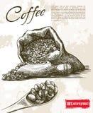 textur för härlig kokkonst för kaffe för bakgrundsbönor släkt stock illustrationer