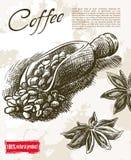 textur för härlig kokkonst för kaffe för bakgrundsbönor släkt royaltyfri illustrationer