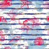 textur för hav för bakgrundslivstidsdäggdjur undervattens- seamless Royaltyfri Illustrationer