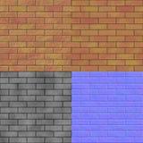Textur för hyror för tegelstenvägg sömlös frambragd (bulan & den normala översikten) Arkivbilder