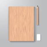Textur för mall för bokomslagdesignstil wood Arkivfoton