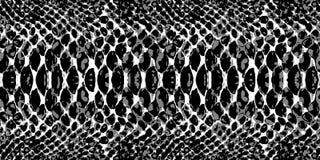 Textur för modell för ormhud som upprepar sömlös monokromsvart & vit vektor Texturorm Trendigt tryck Royaltyfri Bild
