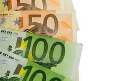 textur för 50 och 100 euroräkningar Fotografering för Bildbyråer