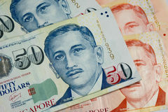textur för 50 och 10 Singapore dollarräkningar Fotografering för Bildbyråer