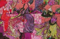 textur för oljemålning Roman Nogin författare samtal för ` s för serie`-kvinnor ` versionen för författare` s av färg Arkivbilder