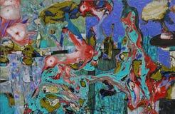 textur för oljemålning Roman Nogin författare samtal för ` s för serie`-kvinnor ` versionen för författare` s av färg Arkivfoton