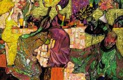 textur för oljemålning Roman Nogin författare samtal för ` s för serie`-kvinnor ` versionen för författare` s av färg Arkivbild
