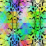 Textur för ormhud med den kulöra romben geometrisk bakgrund Sömlösa blått för lilor för gräsplan för modellsvartregnbåge gulnar b Royaltyfri Fotografi