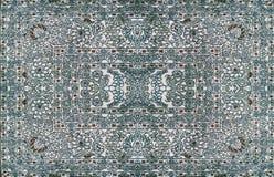 Textur för persisk matta, abstrakt prydnad Rund mandalamodell, mitt - östlig traditionell matttygtextur Turkos mjölkar Royaltyfria Bilder