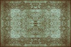 Textur för persisk matta, abstrakt prydnad Rund mandalamodell, mitt - östlig traditionell matttygtextur Turkos mjölkar Royaltyfri Bild