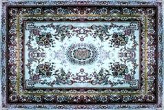 Textur för persisk matta, abstrakt prydnad Rund mandalamodell, mitt - östlig traditionell matttygtextur Turkos mjölkar Royaltyfri Foto