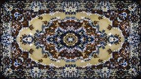Textur för persisk matta, abstrakt prydnad Rund mandalamodell, mitt - östlig traditionell matttygtextur turkos royaltyfri illustrationer