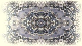 Textur för persisk matta, abstrakt prydnad Rund mandalamodell, mitt - östlig traditionell matttygtextur turkos stock illustrationer