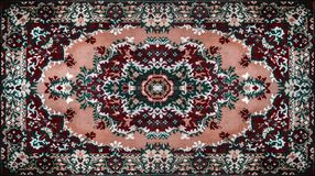 Textur för persisk matta, abstrakt prydnad Rund mandalamodell, mitt - östlig traditionell matttygtextur turkos vektor illustrationer
