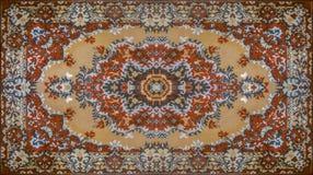 Textur för persisk matta, abstrakt prydnad Rund mandalamodell, mitt - östlig traditionell matttygtextur turkos arkivbilder