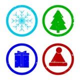 Textur för Rubber stämpel för feriexmas och nytt år royaltyfri illustrationer