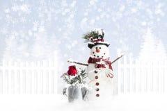 textur för snowman för hoiday modell för bakgrundsjul seamless Royaltyfri Fotografi