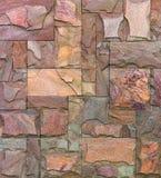 Textur för stenväggen, travertine belägger med tegel fasadbeklädnadstenen arkivbild