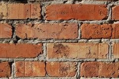 Textur för vägg för röd tegelsten, bakgrund arkivbild