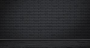 Textur för vägg för rektangelsvarttegelsten med trägolvet också vektor för coreldrawillustration vektor illustrationer